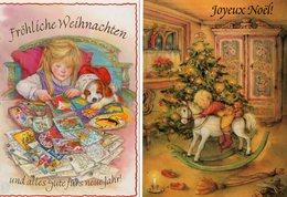 Par Lisi Martin.  2 CPA.  Pere Noël.. Joyeux Noël.frohliche Weihnachten. - Künstlerkarten