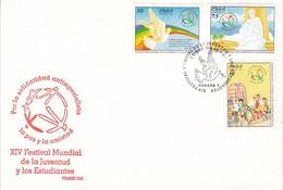 POR LA SOLARIDAD ANTIMPERIALISTA LA PAZ Y LA AMISTAD, FESTIVAL JUVENTUD Y ESTUDIANTES XIV-FDC CUBA HABANA 1987-BLEUP - FDC