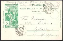 SWITZERLAND 1900 Ganzsache/Postal Stationery Postkarte (Mi) P32 Von FELDBACH Nach ZOLLIKON - Postwaardestukken