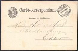 SWITZERLAND 1879 Ganzsache/Postal Stationery Postkarte (Mi) P10 Von ZURICH Nach CHUR - Postwaardestukken