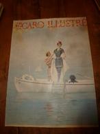 édit. Origine 1895 Rare Plaque Publicitaire Du FIGARO ILLUSTRÉ 52cm X 32cm :Litho: Jeune Couple Sur Une Barque - Targhe Di Cartone