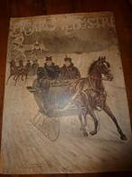 édit. Origine 1895 Rare Plaque Publicitaire Du FIGARO ILLUSTRÉ 52cm X 32cm :Litho: Deux Jeunes Femmes En Traineau Attelé - Plaques En Carton
