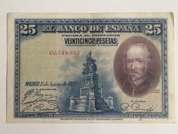 Billete 25 Pesetas. 1928. España. Rey Alfonso XIII. Calderón De La Barca - [ 1] …-1931 : Eerste Biljeten (Banco De España)