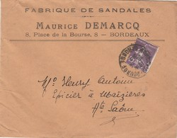 Enveloppe Commerciale 1928 / Maurice DEMARCQ / Fabrique De Sandales / 8 Place De La Bourse / 33 Bordeaux - Maps