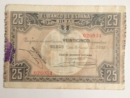 Billete 25 Pesetas. 1937. Bilbao. República Española. Guerra Civil. Sin Serie. Caja De Ahorros Vizcaina - [ 2] 1931-1936 : Repubblica