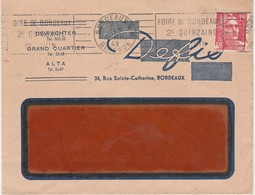 Enveloppe Commerciale 1949 / DEFIS / Dewachter / Grand Quartier / Alba / 36 Rue Ste Catherine / 33 Bordeaux - Maps