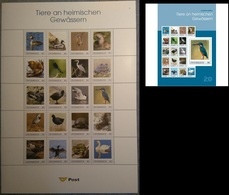 Austria 2018, Birds, Kingfisher, Dragonfly, Turtle, Snake, Swan, Frog, Ducks, Personalized, Sheetlet - Swans