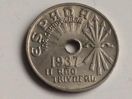 Moneda 25 Céntimos. 1937. Falange. Guerra Civil. II Año Triunfal. España. General Franco. Original. Hecha En Viena - [ 3] 1936-1939: Burgeroorlog