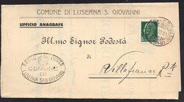 ITALY ITALIA ITALIEN 1931. Postal History Envelope Use By The Municipality LUSERNA S. GIOVANNI VILLAFRANCA - Italia