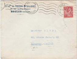 Enveloppe Commerciale 1941 / Travaux Métalliques / Schneersohn / 38 Rue F Buisson / 33 Bègles - Maps