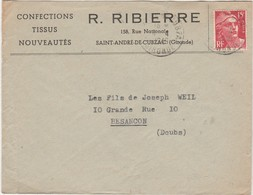 Enveloppe Commerciale 1949 / R. RIBIERRE / Confection / 158 Rue Nale / 33 Saint-André De Cubzac - Maps