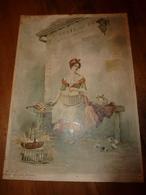 édit.1895 Rare Plaque Pub By Boussod,Valadon & Co 35x25cm:Litho:Attente De La Diligence Au Bureau De Poste Aux Chevaux - Plaques En Carton