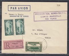 Recommande Par Avion Premier Vol Aero-Postal Damas-Marseille Via Tunis - Syrie