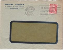 Enveloppe Commerciale 1949 / Herbert GENGOUX / 10 Als Lorraine / 38 Grenoble / Flamme Fêtes Rattachement Dauphiné - Maps