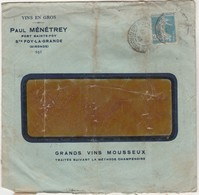 Enveloppe Commerciale 1923 / Paul MENETREY / Vins En Gros / Port / 33 Ste Foy La Grande / Gironde - Maps