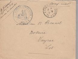 LSC 1916 - Cachet Trésor Et Postes Secteur 11 - Cachet CONVOIS AUTOMOBILES - Au Dos Cachet VAYRAC (Lot) - Marcophilie (Lettres)
