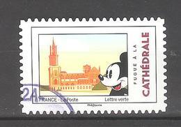 France Autoadhésif Oblitéré N°1593 (Mickey Et La France : Cathédrale) (cachet Rond) - France
