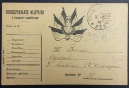 Carte De Franchise Militaire Illustrée Marianne République 6 Drapeaux Vers 9e Régiment Territorial Mai 1915 - Postmark Collection (Covers)