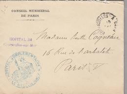 LSC 1915 - HOPITAL TEMPORAIRE N° 14 - Courseulles Sur Mer - Cachet Convoyeur Courseulles A Caen - Marcophilie (Lettres)
