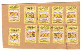 Maroc .10 Vignettes Postales D'une Unité Collées Sur Papier. - Morocco (1956-...)