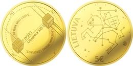 "Lithuania 5 Euro 2018 ""Lithuanian Science - Space, Satellites"" AU Gold PROOF - Lituania"