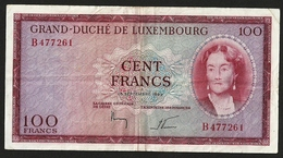 LUXEMBOURG 100 FRANCS 1963 PICK #52a VF+ - Luxembourg
