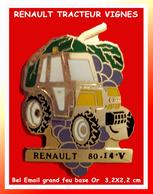 SUPER PIN'S RENAULT : TRACTEUR 89-14-V Pour VITICULTEUR En émail Grand Feu Base Or.  3,2X2,2 Cm - Renault