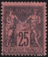 France  .      Yvert    .       91a   .   Noir S.  Rouge Foncé            .     O    .     Oblitéré - 1876-1898 Sage (Type II)