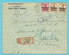 BZ 14+15 Op Brief Aangetekend Stempel TONGERN Naar LAEKEN, Hoofding SPORTKRING TONGEREN - Guerre 14-18