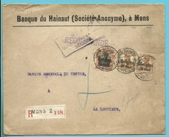 BZ 15+19 Op Brief Aangetekend Stempel MONS - WW I