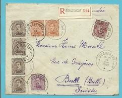 135+136+140+155 Op Brief Aangetekend Met Stempel BORGERHOUT 1 - 1918 Croix-Rouge
