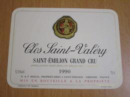 ETIQUETTE DE VIN SAINT-EMILION GRAND CRU CLOS SAINT-VALERY 1990 - Bordeaux
