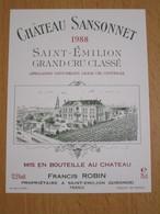 ETIQUETTE DE VIN SAINT-EMILION GRAND CRU CHATEAU SANSONNET 1988 - Bordeaux