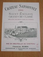 ETIQUETTE DE VIN SAINT-EMILION GRAND CRU CHATEAU SANSONNET 1986 - Bordeaux