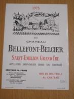 ETIQUETTE DE VIN SAINT-EMILION GRAND CRU CHATEAU BELLEFONT-BELCIER 1973 - Bordeaux