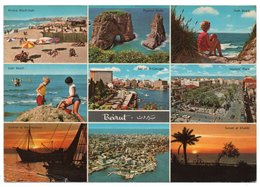 LIBAN/LEBANON - GREETINGS FROM BEIRUT / UN BONJOUR DE BEYROUTH / JNAH BEACH /BAY OF ST-GEORGES - Libano