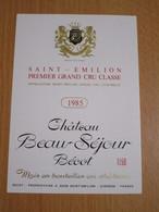ETIQUETTE DE VIN SAINT-EMILION CHATEAU BEAU-SEJOUR BECOT 1985 - Bordeaux