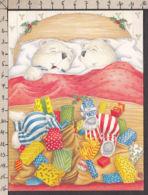 94077GF/ Illustrateur Gillian ROBERTS, Petits Ours Avec Des Cadeaux De Noël Au Pied De Leur Lit - Illustratori & Fotografie