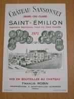ETIQUETTE DE VIN SAINT-EMILION GRAND CRU CHATEAU SANSONNET 1971 - Bordeaux