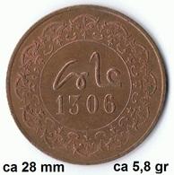 Maroc , Morocco ,  Marokko 5 Mauzonas 1306 Fes Münze Coin Rare - Marruecos