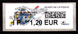 Atm-Lisa / Lettre Prio Europe IP 1.20 €,  Saint-Désiré, Musée De La Poste, 6.11.2018 - 2010-... Illustrated Franking Labels