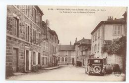 TRES RARE CPA 1938 HAUTE LOIRE MONISTROL GROS PLAN VOITURE DEVANT POSTE RUE GENERAL CHABRON TBE - Monistrol Sur Loire