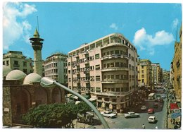 LIBAN/LEBANON - BEYROUTH/BEIRUT- WEYGAND STREET/OLD CARS / MOSQUE (PHOTO SPORT N.618) / THEMATIC STAMPS-FLOWERS - Libano