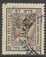 Indore (Holkar) - 1928  Maharaja Yeshwant  Rao II 2a Brown Used   SG 20  Sc 19 - Holkar