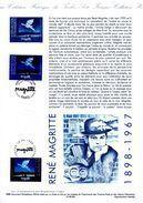 """"""" FRANCE / BELGIQUE : RENE MAGRITTE """" Sur Document Philatélique Officiel De 1998. N° YT 3145 + BEL 2755 . Parf état DPO - Emissions Communes"""
