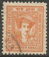 Indore (Holkar) - 1941 Maharaja Yeshwant  Rao II 1/4a Used   SG 36  Sc 34 - Holkar