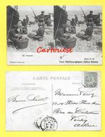 CPA NICE 06 Pêcheurs Préparatif Filets De Pêche Panier Osier 1905 CARTE STEREOSCOPIQUE - Cartes Stéréoscopiques