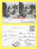CPA NICE 06 Pêcheurs Préparatif Filets De Pêche Panier Osier 1905 CARTE STEREOSCOPIQUE - Stereoscopische Kaarten