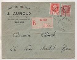 LETTRE BIERE RINCK ( AUROUX ROANNE LOIRE ) RECOMMANDEE, VIGNETTE, TIMBRES PETAIN DE 1943, CACHET D ARRIVEE LYON - Bières