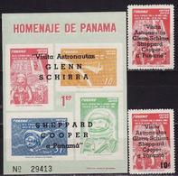 Panama, 1963, Space, Astronaut Visits, 2 Stamps + Block - Raumfahrt